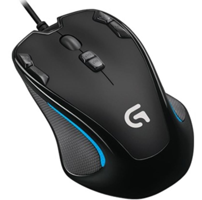 Logitech G300s Optical Ambidextrous USB Gaming Mouse - 2500DPI 9 Programmable Buttons Onboard Memory 1ms Response Rate On-The-Fly DPI Switching(LS)