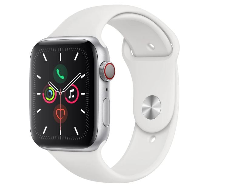 Apple Watch Series 5 GPS + Cellular 44mm - Silver Aluminium case with White sports band,watchOS 6,Electrical and optical heart sensor,32GB capacity
