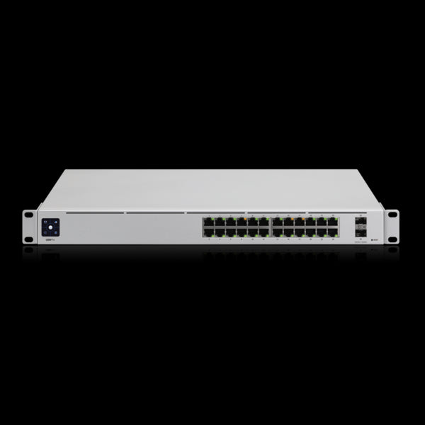 **NEW ITEM**Ubiquiti UniFi 24-port switch with (24) Gigabit RJ45 ports and (2) 10G SFP+ ports. Powerful second-generation UniFi switching