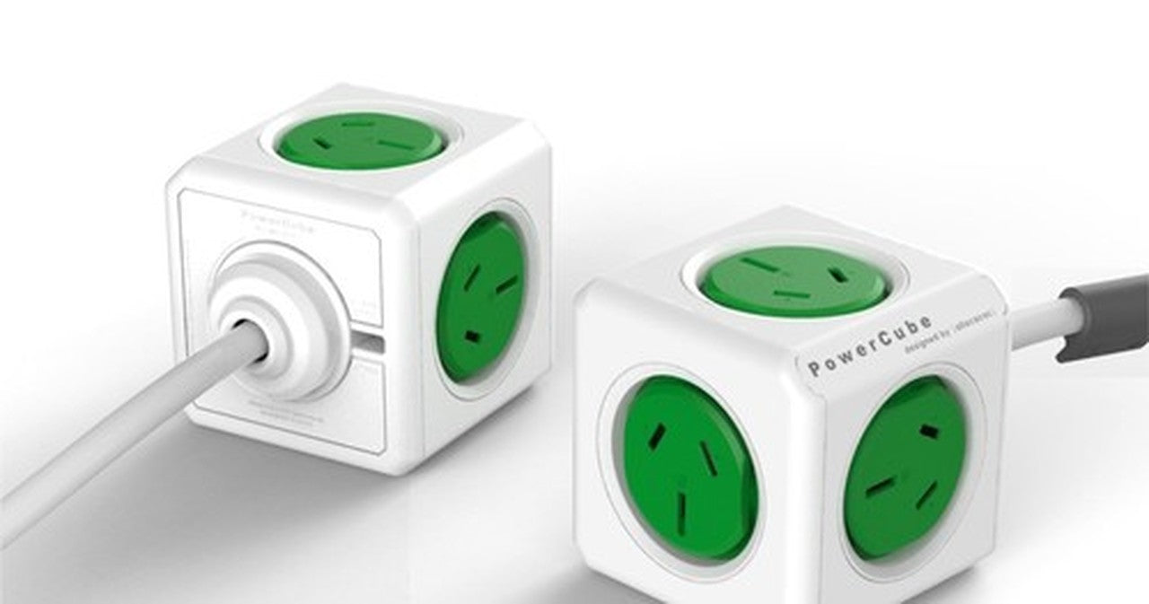 ALLOCACOC POWERCUBE Extended 5 Outlets, 3M - Green (LS)