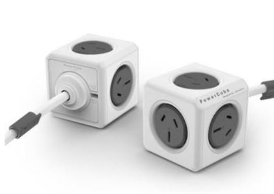 ALLOCACOC POWERCUBE Extended 5 Outlets, 3M - Grey (LS)