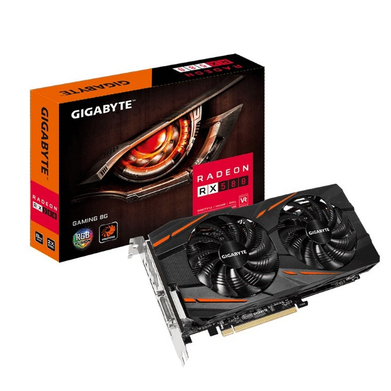 Gigabyte AMD Radeon RX 580 V2.0 Gaming 8GB DDR5 PCIe Graphic Card 8K 7680x4320 5xDisplays DVI HDMI 3xDP 1365/1340 MHz RGB Windforce 2X CrossFire
