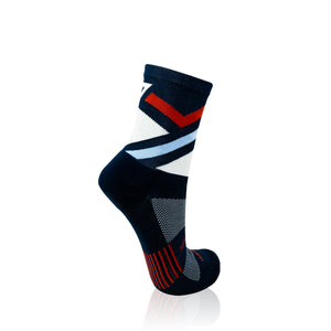 Navy & Red Stripes Running Socks