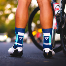 Load image into Gallery viewer, Navy & Green Blocks Cycling Socks