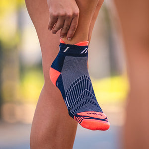 Navy & Peach Short Running Socks