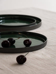 HUSK Ceramics Porcelain Tableware: Plato Plates, Dark Green