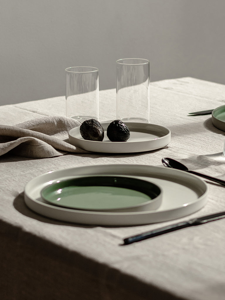 HUSK Ceramics Porcelain Tableware: Plato Plates, Table Setting