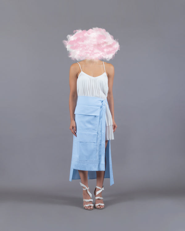 Wasted Wrap Skirt - Light Blue