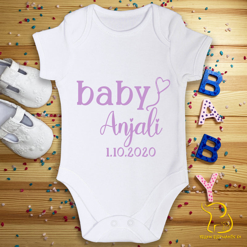 Custom Baby Name and Date Baby Bodysuit