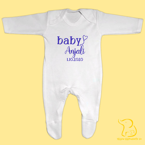 Custom Baby Name and Date Baby Sleepsuit