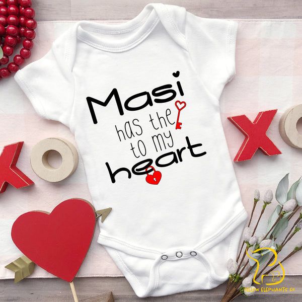 Papa Has The Key To My Heart Baby Bodysuit (any relation)