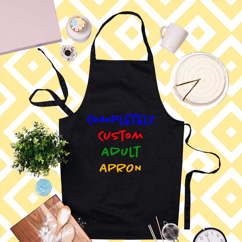 Completely Custom Text Adult Apron - Black