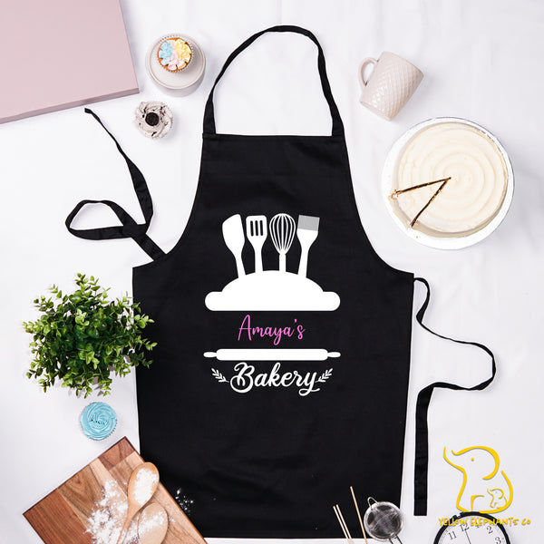 Custom Bakery Apron - Black