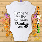 Just Here For The Samosas Diwali Baby Bodysuit