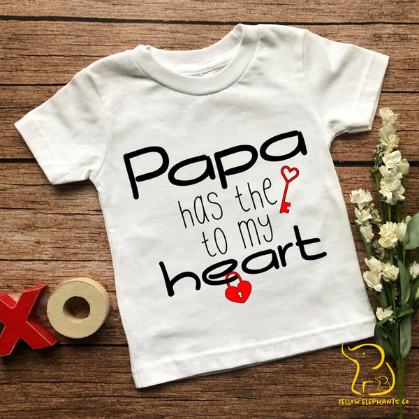 Papa Has The Key To My Heart Children's T-Shirt (any relation)