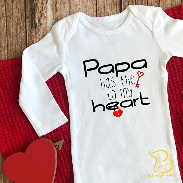 Papa Has The Key To My Heart Baby Sleepsuit (any relation)