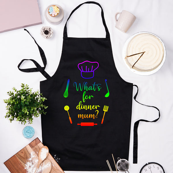 What's For Dinner Mum? Apron - Black