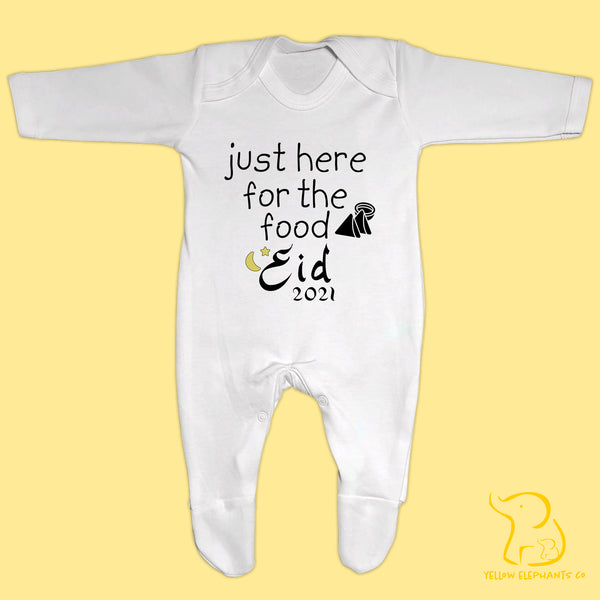 Eid - Just Here For The Food Baby Sleepsuit