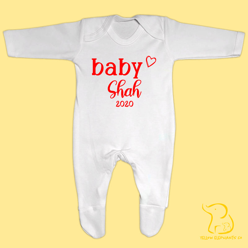 Custom Baby Name and Year Baby Sleepsuit