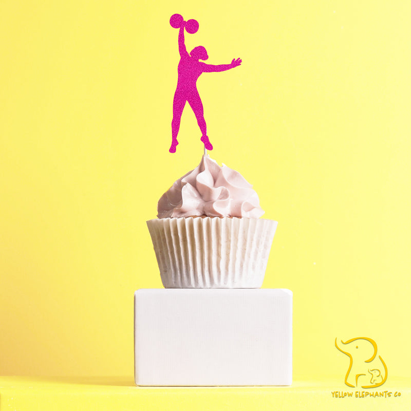 Weightlifting Woman Cupcake Toppers