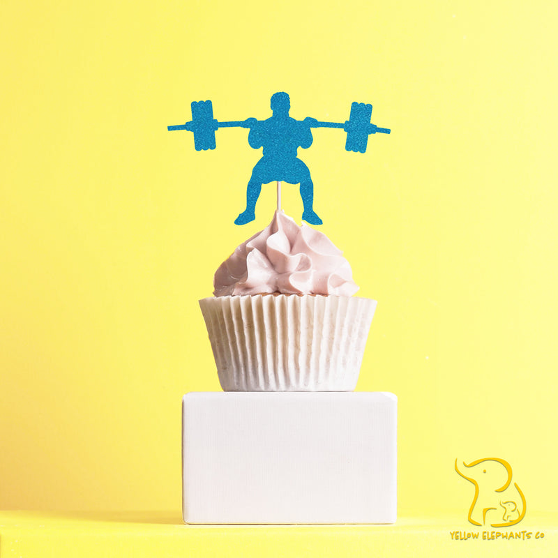 Weightlifting Man Cupcake Toppers