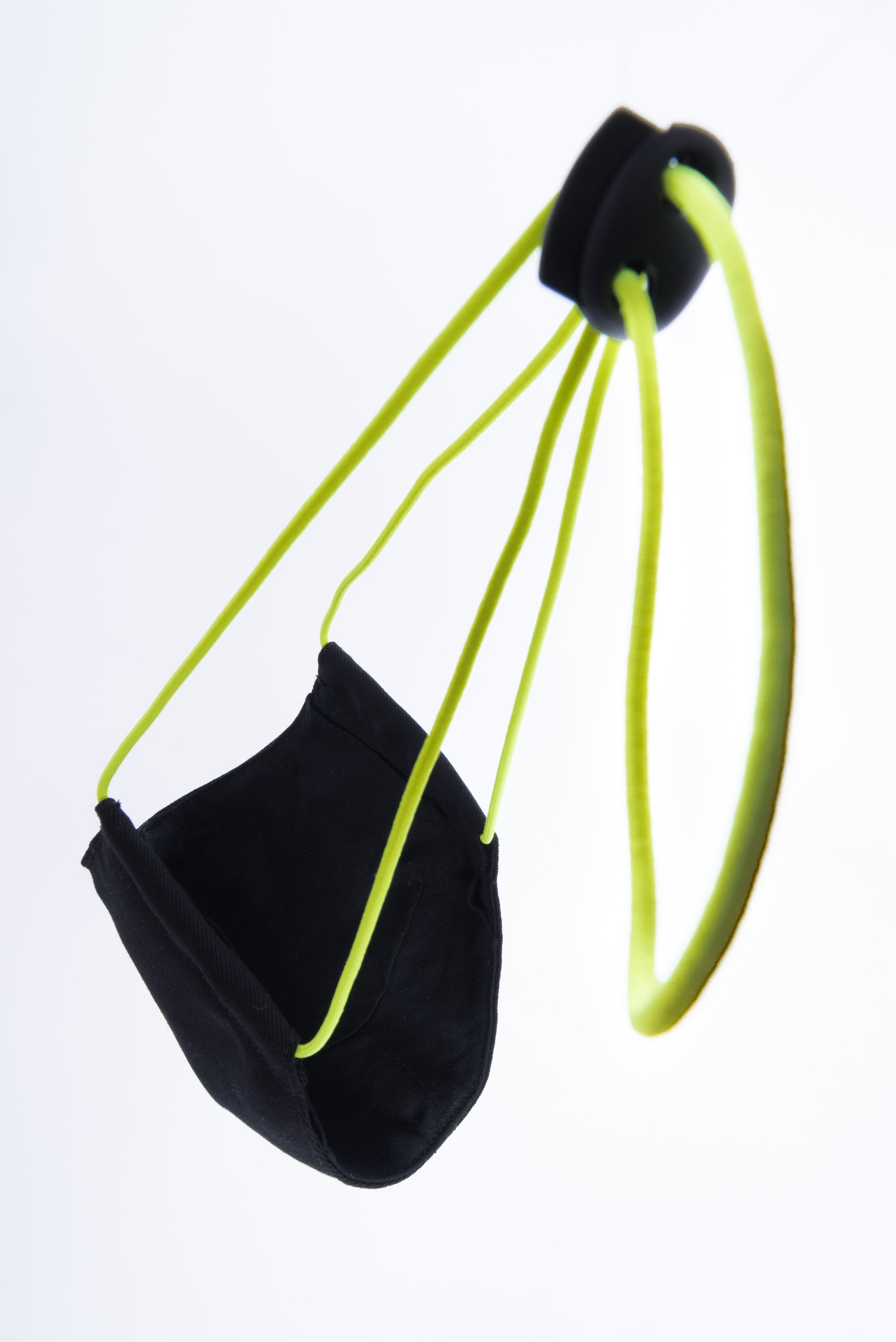 Wool Blend Cotton Twill Mask | Black-Neon