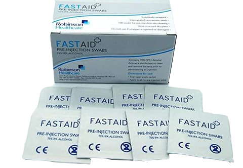 FastAid 70% Alcohol Wipes (Box of 50 Wipes)