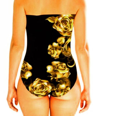 Lauris Couture Strapless Black & Gold One Piece Swimsuit