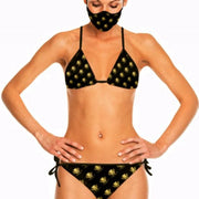 Lauris Couture Black & Gold Bikini Swimsuit Mini Logo