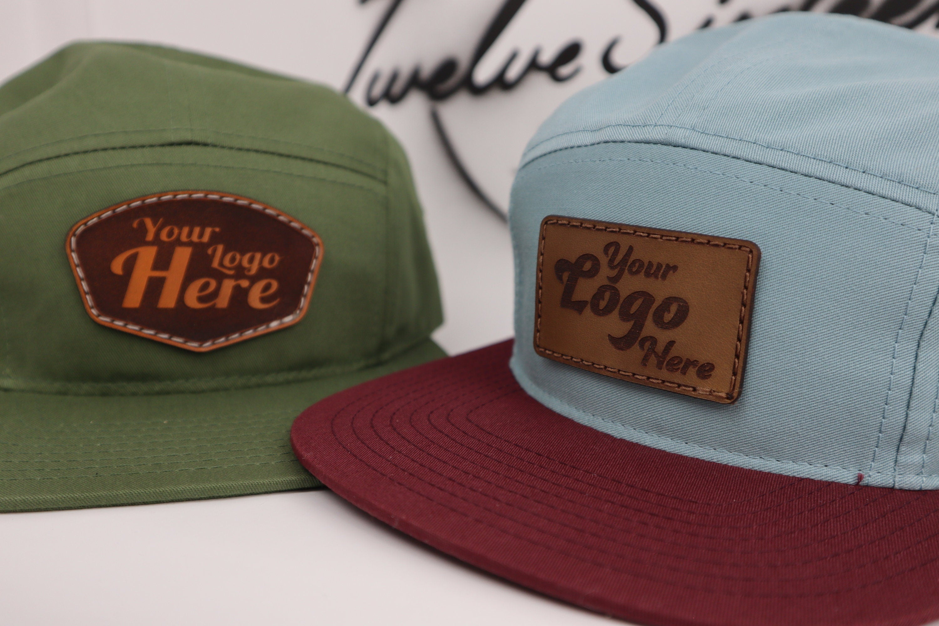 Custom 5 Panel Camp Hat - Personalized Genuine Leather Handmade Hat For Your Business, Company or Organization