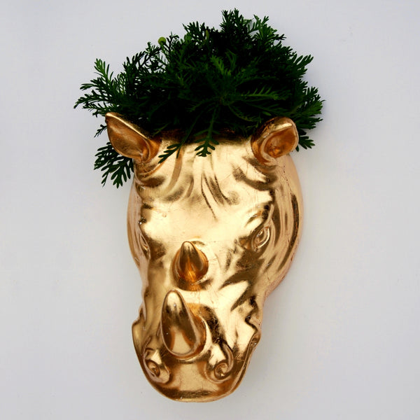RHINO Gold Gilded Wall Planter