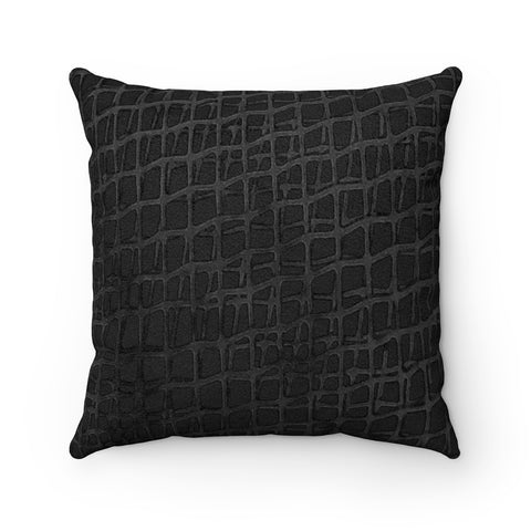 Web BlackBlack Faux Suede Square Pillow