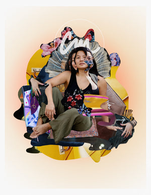 A colourful collage of warm colours, geometric shapes, and cutouts from bags surround an asian girl in the center with a faceted face.  There is a pale white halo surround the letters CM above her head.