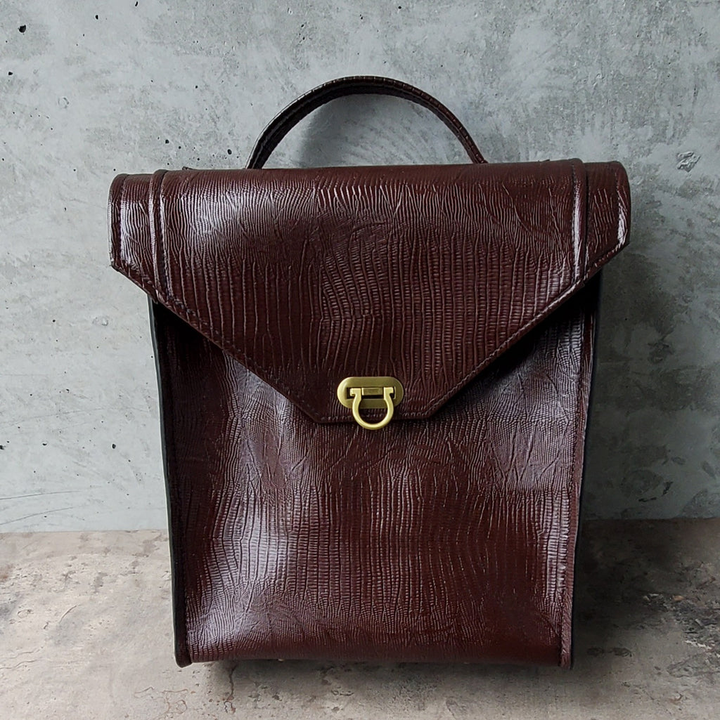 Convertible Maroon Faux Leather Mini Pack
