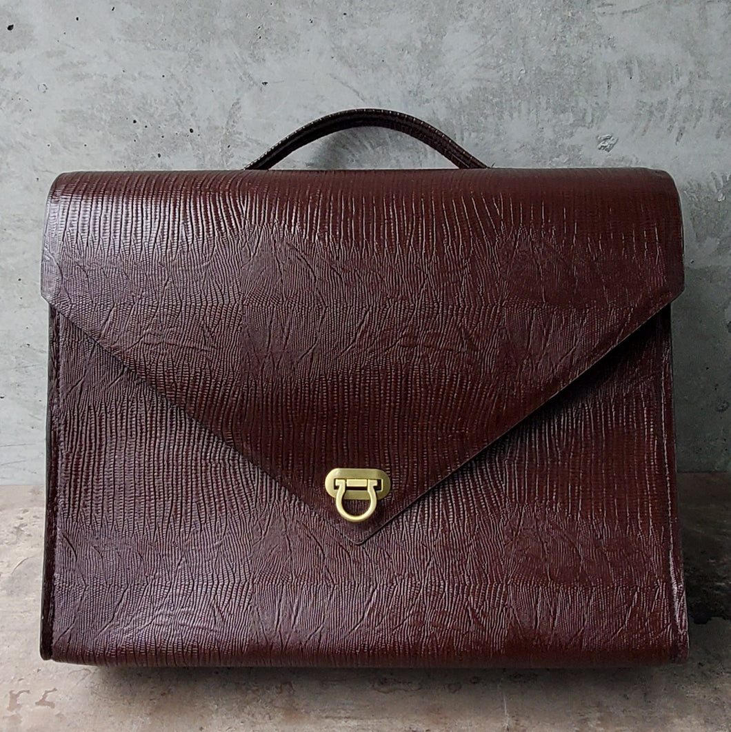 Convertible Maroon Faux- Leather Briefcase