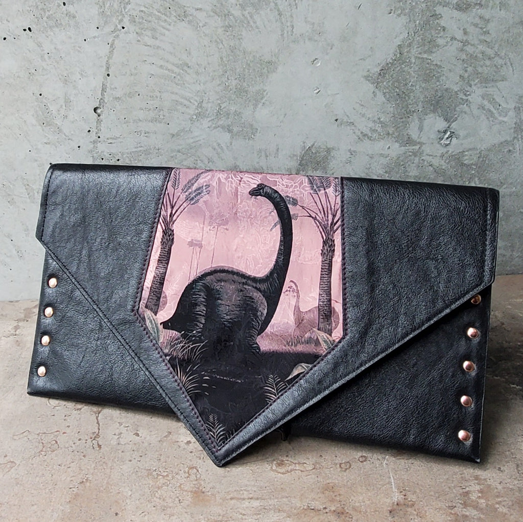 Dino Clutch with Silk Tie, Leather & Faux Leather