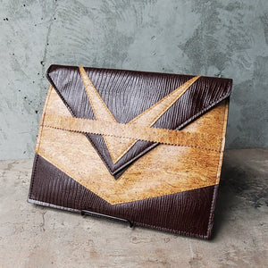 Maroon Faux Leather and Cork Clutch