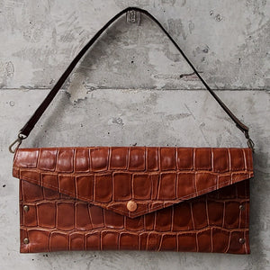 Convertible Croc-Embossed Leather Clutch