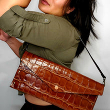 Load image into Gallery viewer, Convertible Croc-Embossed Leather Clutch
