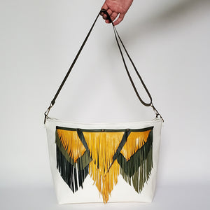 Convertible Off-White Faux Leather Tote with Mixed Leather Fringe Accent