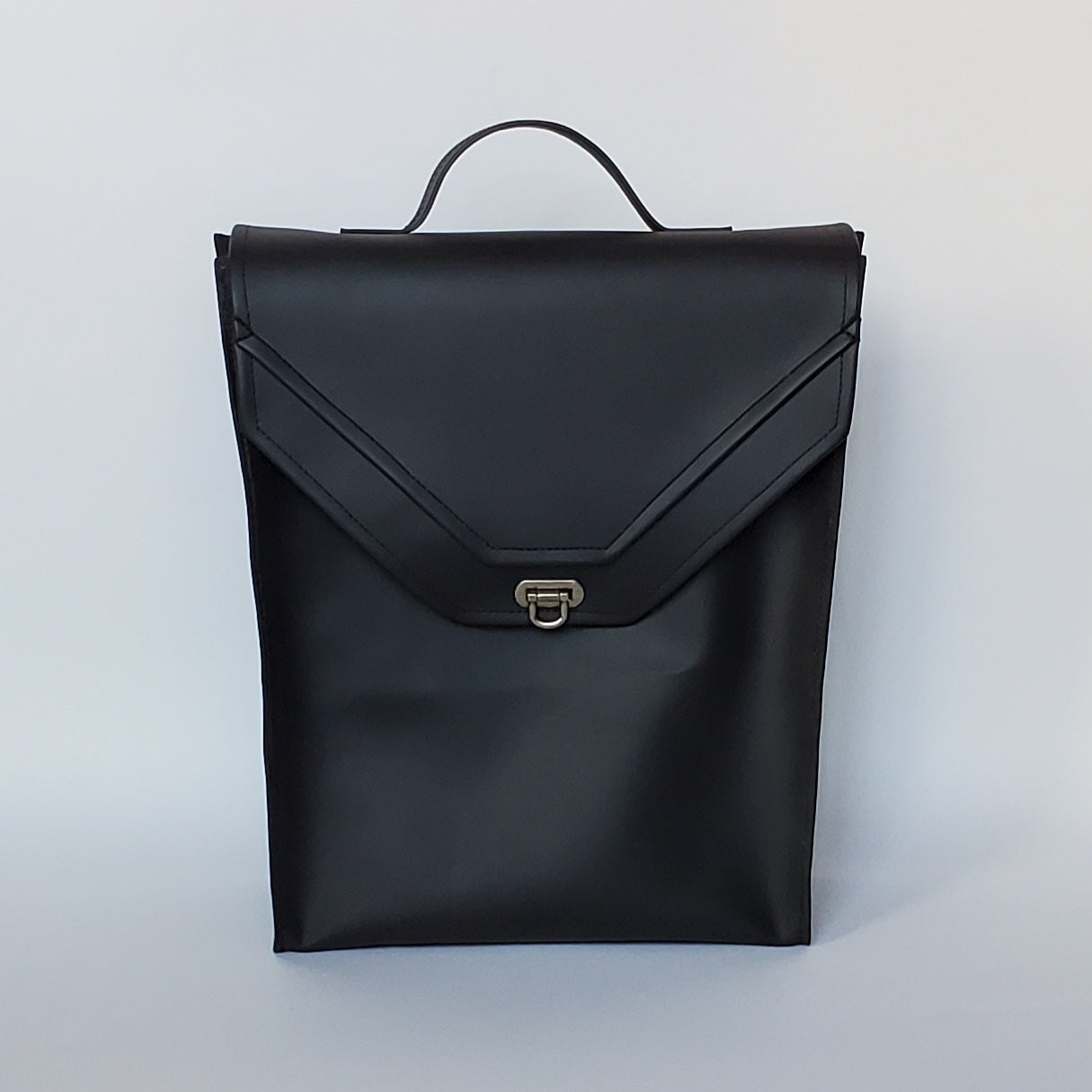 Convertible Black Faux Leather Briefpack