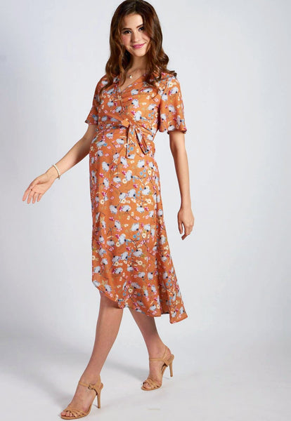 Mustard Floral Nursing Wrap Dress