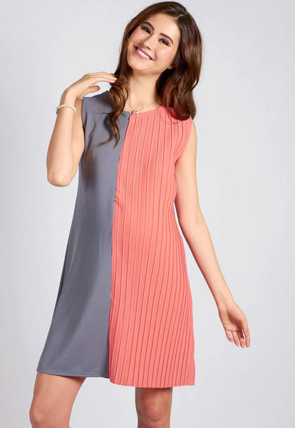 Grey Sleeveless Half Pleat Nursing Dress