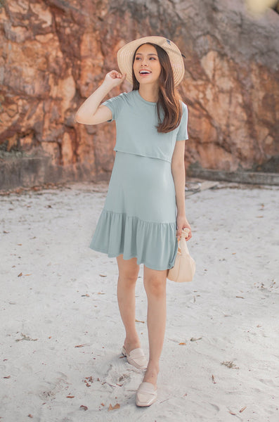 Agnes Ruffled Hem Nursing Dress In Sea Green
