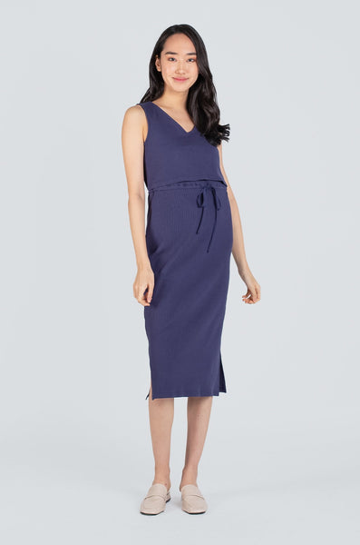 Kalani Drawstring Nursing Dress In Navy Blue