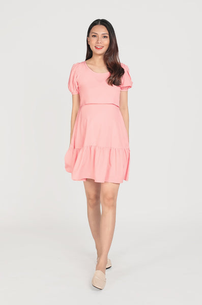Nikki Bubble Sleeves Nursing Dress In Bubblegum Pink