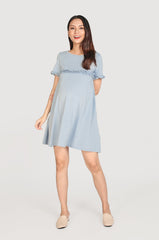 Briana Frills Flare Nursing Dress In Dusty Blue Nursing Wear Jump Eat Cry