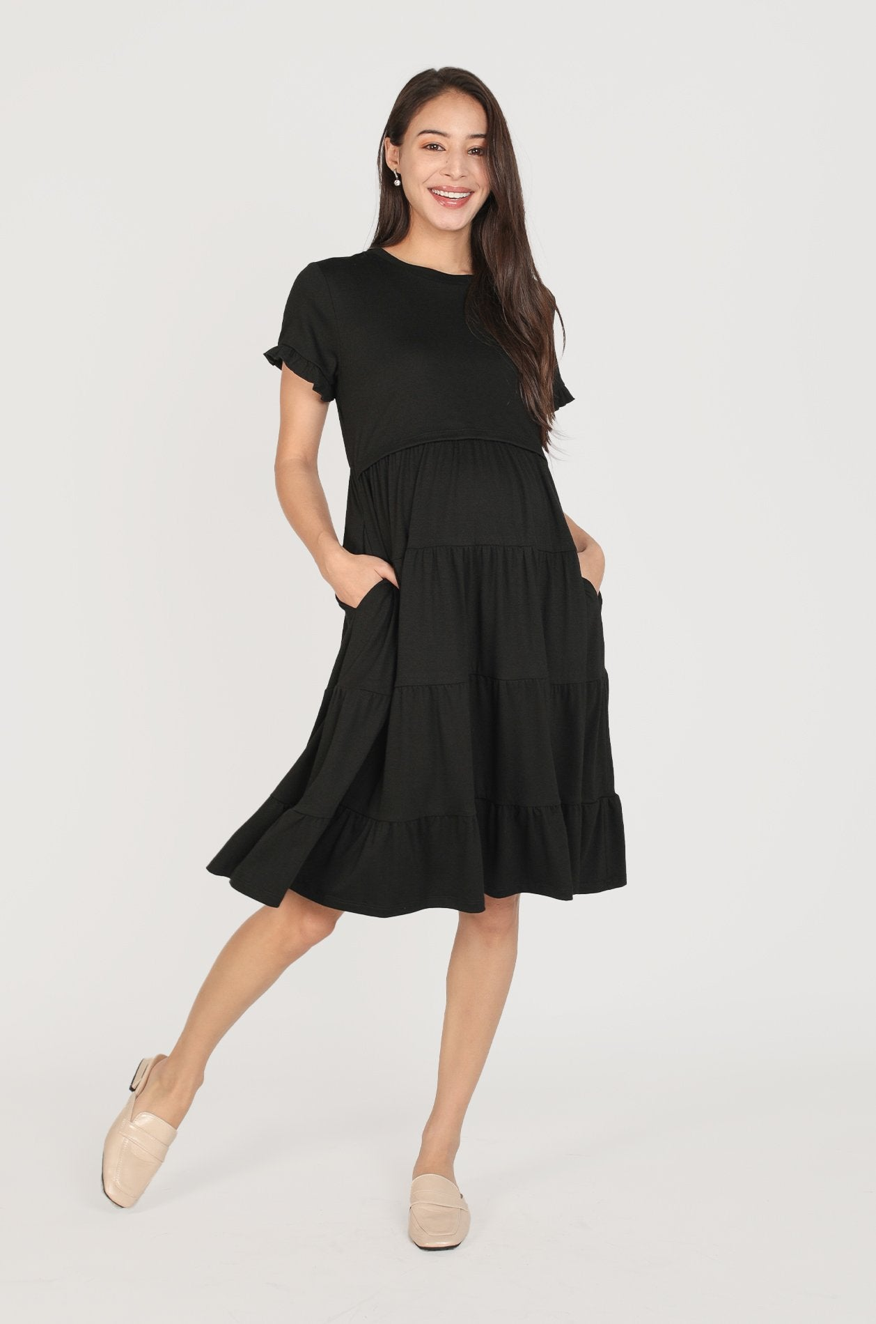 Naya Tiered Nursing Dress In Black Nursing Wear Jump Eat Cry