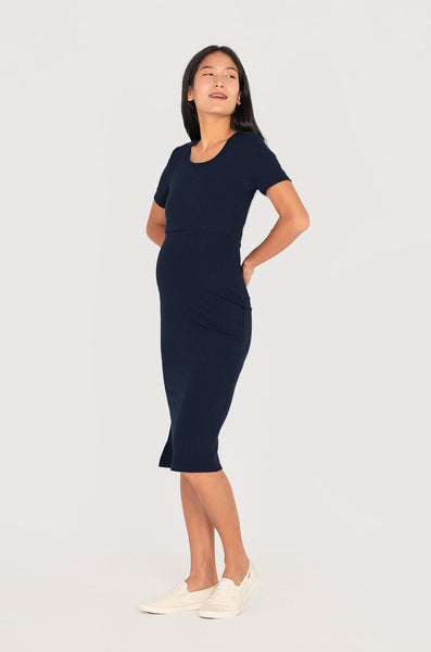 Marianne Scoop Neck Nursing Dress In Navy