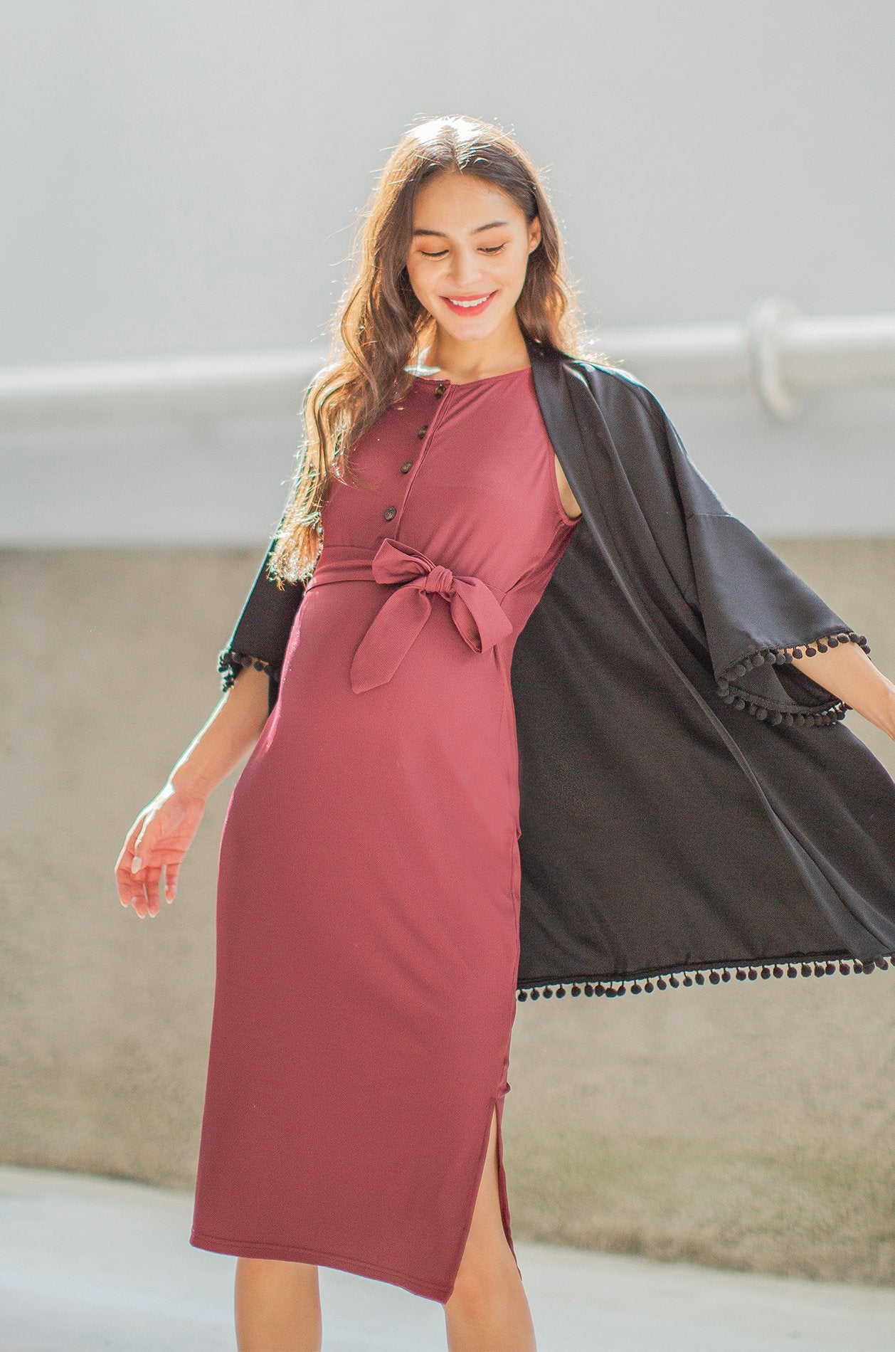 Everly Pompom Kimono In Black Nursing Wear Jump Eat Cry